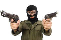 The funny man wearing balaclava isolated on white Stock Images