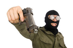 The funny man wearing balaclava isolated on white Royalty Free Stock Image