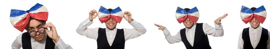 The funny man wearing giant bow tie. Funny man wearing giant bow tie royalty free stock image