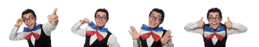 The funny man wearing giant bow tie. Funny man wearing giant bow tie stock photography