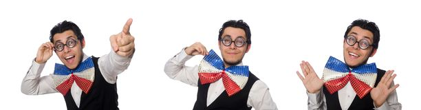 The funny man wearing giant bow tie. Funny man wearing giant bow tie royalty free stock photography