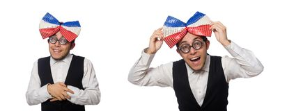 The funny man wearing giant bow tie. Funny man wearing giant bow tie royalty free stock photo