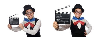 The funny man wearing giant bow tie stock photography
