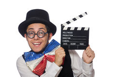 The funny man wearing giant bow tie Stock Images