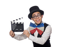 The funny man wearing giant bow tie Royalty Free Stock Images