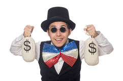 The funny man wearing giant bow tie Stock Image