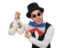 Funny man wearing giant bow tie Royalty Free Stock Images
