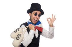 Funny man wearing giant bow tie Stock Photography