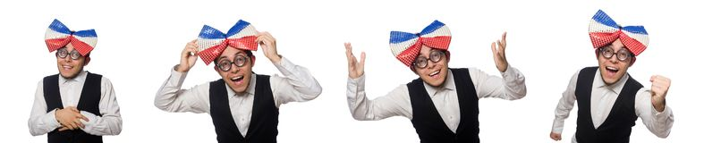 The funny man wearing giant bow tie. Funny man wearing giant bow tie stock image