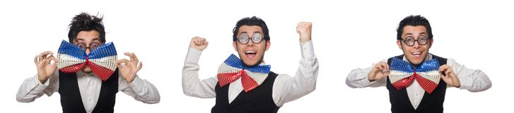 The funny man wearing giant bow tie. Funny man wearing giant bow tie stock photos