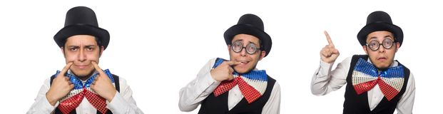 The funny man wearing giant bow tie. Funny man wearing giant bow tie stock photo
