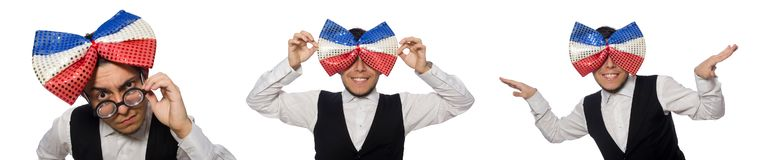 The funny man wearing giant bow tie. Funny man wearing giant bow tie royalty free stock images