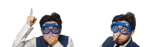 The funny man wearing goggles isolated on white royalty free stock image