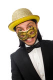 Funny man wearing mask isolated on white Royalty Free Stock Image