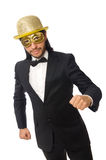 The funny man wearing mask isolated on white Stock Photography