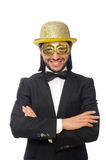 The funny man wearing mask isolated on white Stock Image