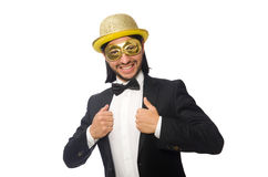 Funny man wearing mask isolated on white Royalty Free Stock Photography