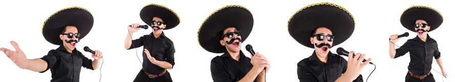 The funny man wearing mexican sombrero hat isolated on white. Funny man wearing mexican sombrero hat isolated on white Stock Photo