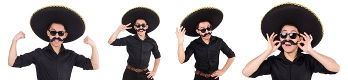 The funny man wearing mexican sombrero hat isolated on white. Funny man wearing mexican sombrero hat isolated on white Royalty Free Stock Images