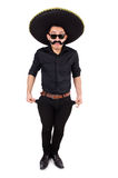 Funny man wearing mexican sombrero hat isolated Stock Photography