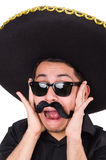 Funny man wearing mexican sombrero hat isolated Royalty Free Stock Image