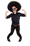 Funny man wearing mexican sombrero hat isolated Stock Photo