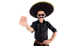 Funny man wearing mexican sombrero hat isolated Royalty Free Stock Photos