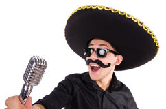 Funny man wearing mexican sombrero hat isolated Royalty Free Stock Photo
