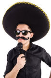 Funny man wearing mexican sombrero hat isolated Stock Images