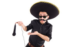 Funny man wearing mexican sombrero hat isolated Royalty Free Stock Images