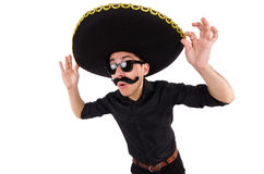 Funny man wearing mexican sombrero hat isolated Stock Image