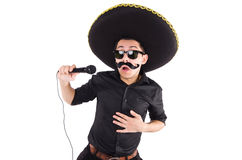 Funny man wearing mexican sombrero hat isolated Stock Photos