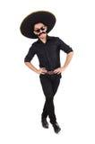 Funny man wearing mexican sombrero hat Stock Photos