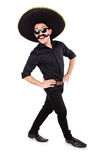 Funny man wearing mexican sombrero hat Royalty Free Stock Photo