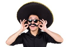 Funny man wearing mexican sombrero hat Stock Photography