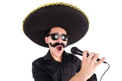 Funny man wearing mexican sombrero hat Stock Photo