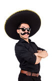 Funny man wearing mexican sombrero hat Stock Image
