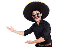 Funny man wearing mexican sombrero hat Stock Images