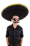 Funny man wearing mexican sombrero hat Royalty Free Stock Photos