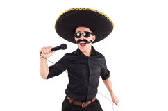 Funny man wearing mexican sombrero hat Royalty Free Stock Image