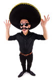 Funny man wearing mexican sombrero hat Royalty Free Stock Images