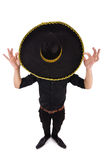 Funny man wearing mexican sombrero hat isolated on Royalty Free Stock Image