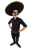 Funny man wearing mexican sombrero hat isolated on Stock Photo