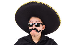 Funny man wearing mexican sombrero hat isolated on Royalty Free Stock Photos