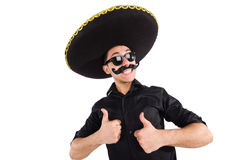 Funny man wearing mexican sombrero hat isolated on Stock Images