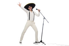 Funny man wearing mexican sombrero hat isolated on Royalty Free Stock Images