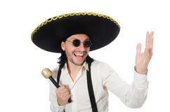 Funny man wearing mexican sombrero hat isolated on Royalty Free Stock Photo