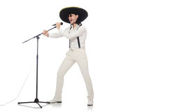 Funny man wearing mexican sombrero hat isolated on Stock Image