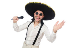 Funny man wearing mexican sombrero hat isolated on Stock Photos