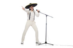 Funny man wearing mexican sombrero hat isolated on Stock Photography